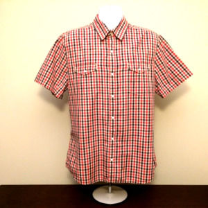 Levi's red blue gingham plaid pearl snap western
